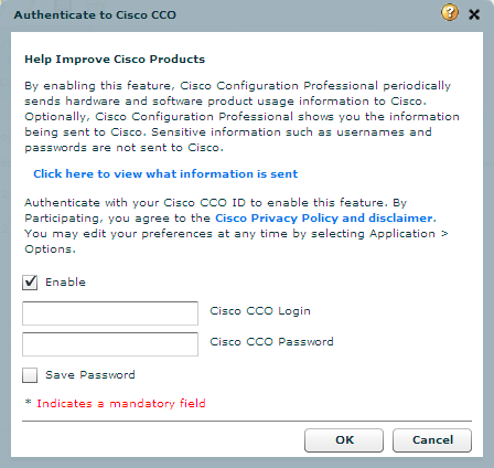 Cisco CCO authentication window