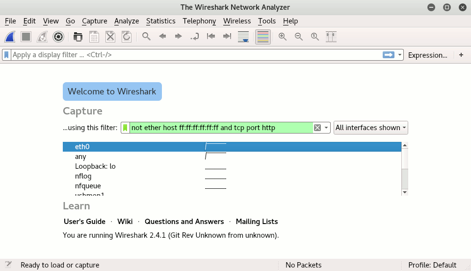 Wireshark capture filter