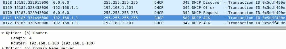 Two competing DHCP ACK paquets