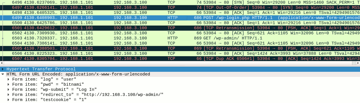 Wireshark capture on attacker's host