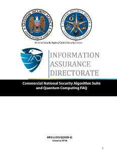 Cover of 'Commercial National Security Algorithm Suite and Quantum Computing FAQ'