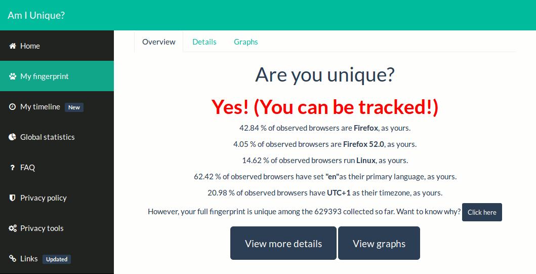 'Am I Unique?' interface